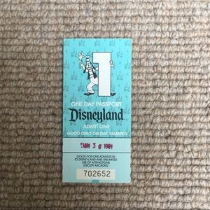 1991 Disneyland One Day Passport Ticket